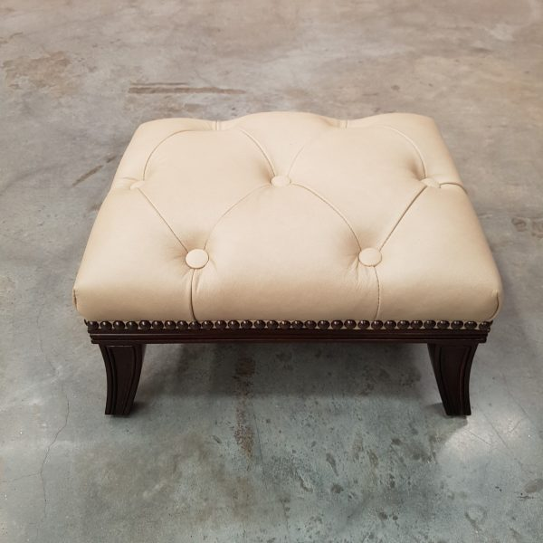 TH footstool, cream uph deep buttoned top view