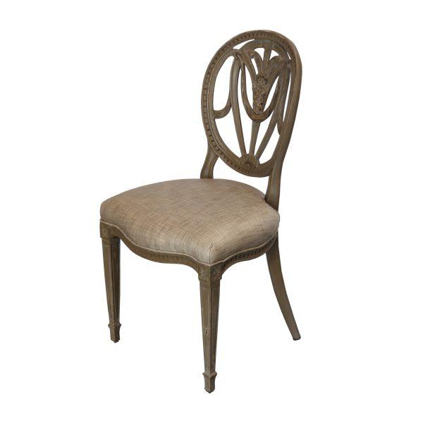 Colonial chair oval back limewash