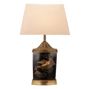 LT 084 Chinoiserie painted brass ormulu table lamp