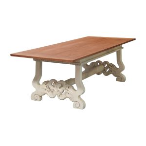 cCarved trestle dining table